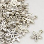 Tiny Flower Tibetan Style Antique Silver Charm (10 charms)